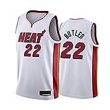 xiaotianshi Jersey de Baloncesto Deportivo de Las NBA de los Hombres, Miami Heat # 22 Jimmy Butler, Transpirable Resistente al Desgaste Vintage Basketball Jersey,Blanco,XL