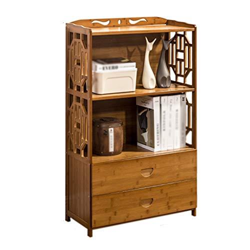Bijzettafel, salontafel, lade, van bamboe, grote capaciteit, retro, salontafel, balkon, kleine woning, bank, tafel 52X29X99cm