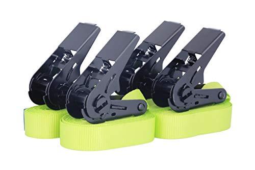 4 Stück Spanngurte Zurrgurte Ratschengurte TÜV zertifiziert und nach DIN EN 12195-2, hochwertige schwarze Ratsche, belastbar bis 900kg, Länge 4m Breite 25mm, einteilig, neon gelb