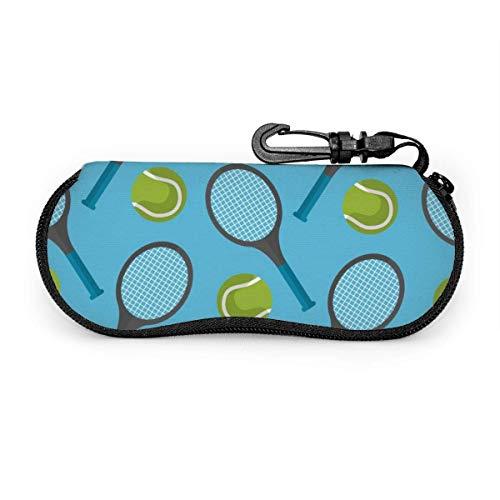 Just life Raquetas de tenis y pelotas de tenis dibujadas a mano Estuche portátil para anteojos Estuche protector para gafas resistentes a la abrasión
