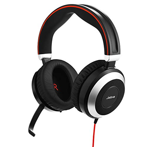 Jabra Evolve 80 UC Wired Headset Professional Telephone Headphones with Unrivalled Noise Cancellation for Calls and Music, Features World-Class Speakers and All Day Comfort