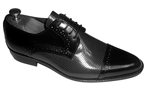 Arte hecho a mano Ferreira zapatos para hombre cuero Oxford encaje hasta Brogue redondeado dedo del pie vestido formal zapato, color Negro, talla 46 EU