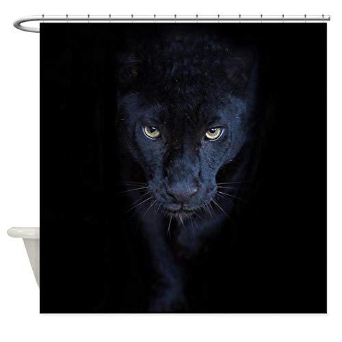 Animal Panther 3D Wasserdichter Duschvorhang Bad Und Schimmelresistenter Vorhang Extra Lang Umweltfre&lich Mit 12 Haken, 180X180Cm