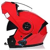 Casco Modular de Motocicleta Bluetooth Cara Completa, Casco Motocross Doble Visera para Hombres y Mujeres Adultos, Casco Ciclomotor Calle Transpirable, Aprobado por Dot/ECE (55-62cm)