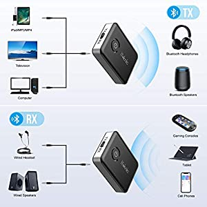 Bluetooth 5.0 Receiver Transmitter, 2-in-1 3.5mm Audio Transmitter, aptX Low Latency, Pair 2 at Once for TV/Home Sound System