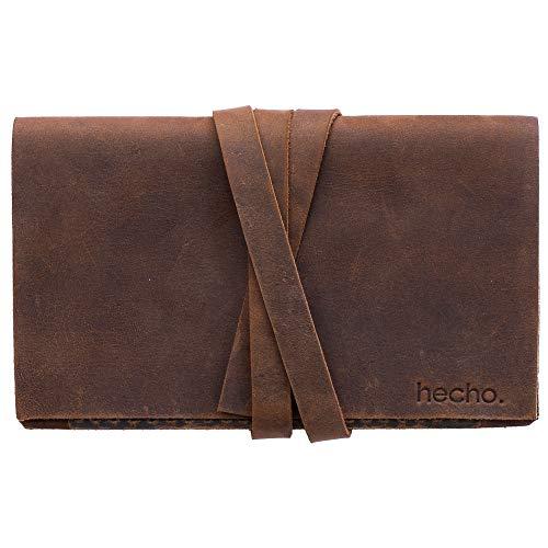 hecho. Damen Geldbörse Pablo (Dark Wood) für Karten, Scheine und Kleingeld - Handgefertigt, Leder & Fair-Trade (Damen Portemonnaie Brieftasche)