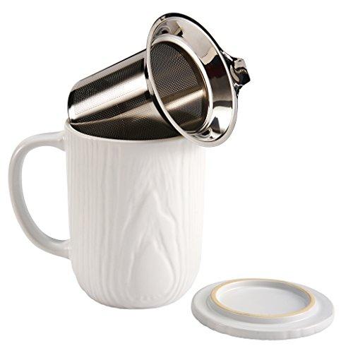 casaWare Stoneware Tilt & Drip Tea Infuser Mug, Woodgrain White 18-Ounce