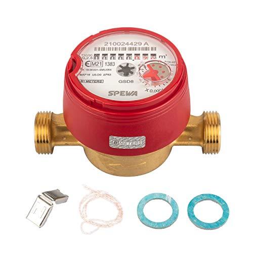Wasserzähler QN 1,5 Warmwasser, BL 110 mm 3/4 Zoll Beste Messgenauigkeit