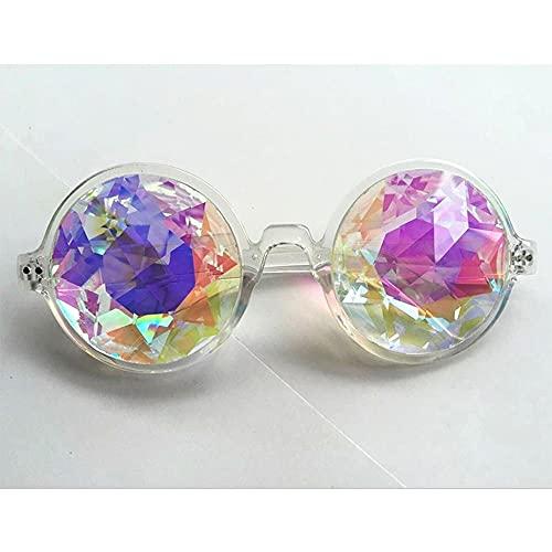 PPuujia Gafas redondas transparentes para caleidoscopio, lentes de cristal, para fiestas, carnaval, mujeres, hombres, fiestas, regalos de reina (color del marco: transparente)