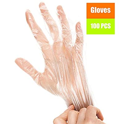 Clear Plastic Gloves for Cooking, Cleaning - 100 pcs L, XL size Disposable Polyethylene Gloves for Food - Latex Free Gloves - Clear Food Handling Prep Gloves