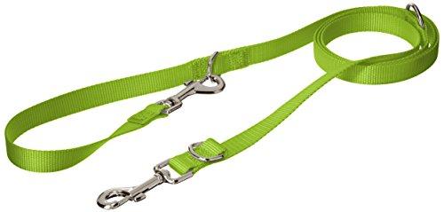CHAPUIS SELLERIE Laisse pour Chien 3 Positions Sangle Nylon Vert Largeur 20 mm, Longueur 2 m