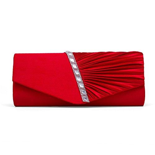 SYMALL Bolso de Mano para Mujer Bolso para Fiesta Boda Salidas Bar Mini Size Estilo Brillante con Diamantes y Cadenas Bolso Nupcial, Rojo