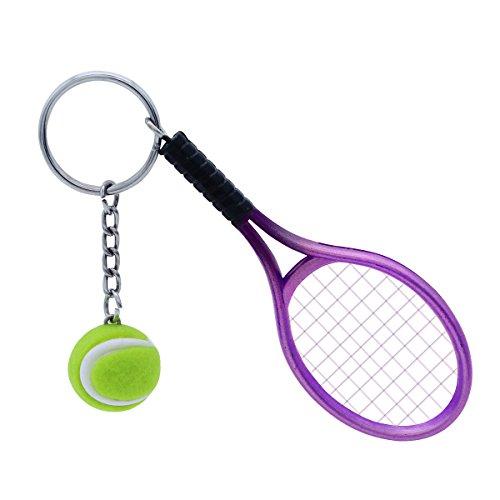 VALICLUD Llavero elegante con diseño de raqueta de tenis, llavero con colgante de pelota de tenis