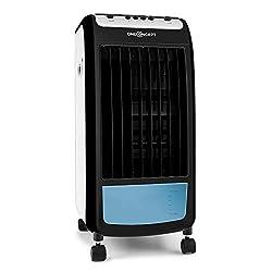 oneConcept Carribean Blue - Luftkühler mit Luftreinigungs- und Befeuchtungsfunktion, 3 Geschwindigkeitsstufen, 4 Liter Wassertank, stromsparende 75 W, 400 m³/h, inklusive Eispack, schwarz-blau