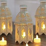 Wuudi Portavelas de metal, diseño de jaula de pájaros, estilo vintage, candelabro para bodas, fiestas, estilo marroquí, color blanco