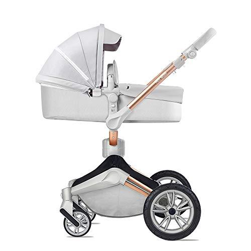 Hot Mom baby passeggino con rotazione 360 gradi, 100% PU cuoio,alto paesaggio passeggino neonato, sedia con basasinet combo 2020,grigio