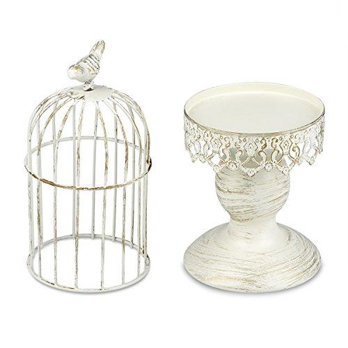 Birdcage Candle Holder Wedding Party Centerpiece Home Decor,Tables Iron Candlestick,Bar Cafe Restaurant Ornament(Birdcage-White)