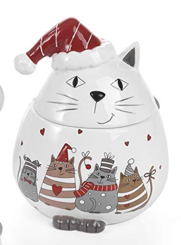Paben Noel Biscottiera Natalizia in Ceramica Smaltata con Gattini in Rilievo cm. 19,7 Idea Regalo Natale