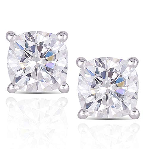 DovEggs 10K White Gold Post 2.2CTW 6MM G-H-I color Cushion Cut Moissanite Simulated Diamond Stud Earrings Sterling Silver Push Back