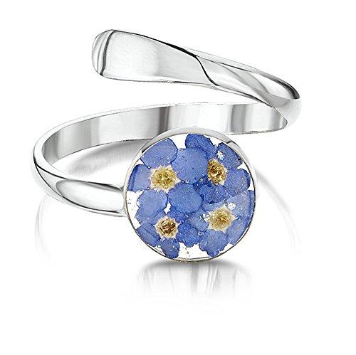 Shrieking Violet: verstellbarer Ring - blaue Vergissmeinnicht - rund - 925 Sterling Silber - variable Größe