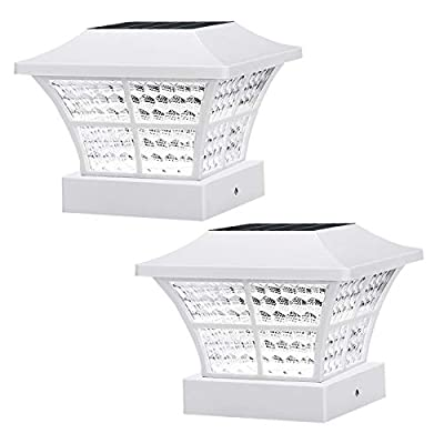 2PK Fence Post Solar Lights Outdoor 3.5x3.5 4x4 inch Classic Square Deck Cap LED Lamp Wooden Posts Waterproof for Landscape, Pathway, Patio, Front Door Decoration (White- Cool White)