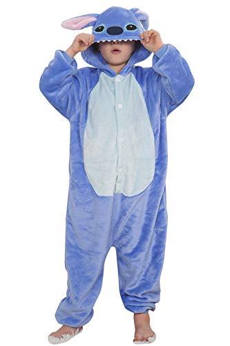 """Qemsele Niños Onesies Kigurumi Pijamas Niña Traje Disfraz 3D Animal Capucha Ropa de Dormir Halloween Cosplay Navidad Animales de Vestuario (130 para Altura 120-130CM (47""""-51""""), Stitch)"""