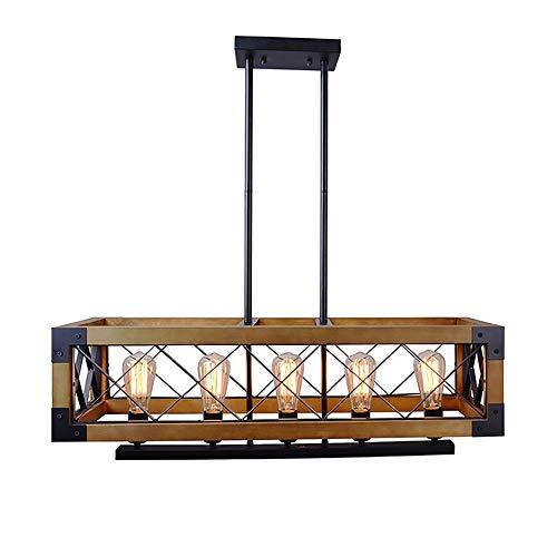 ZZYJYALG. Lampada a sospensione rettangolare in metallo in legno a 5 luci con paralume in vetro a bolle nero E26 / E27 retro stile country 60W plafoniera lampada industriale linea lampadario