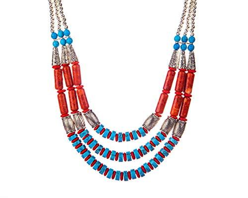 VintFlea Auténticas piedras preciosas turquesa y jaspe 3 capas tribales collar para mujer