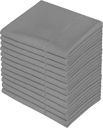 Utopia Bedding Funda Almohada 50x75cm - Juego De 12 Funda De Almohada De Suave Microfibra Cepillada con Cierre De sobre - Gris