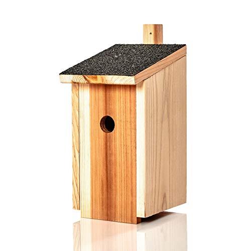 Skojig© Nistkasten für Meisen aus Naturholz : wetterbeständige Nisthilfe | Brutkasten fertig montiert aus unbehandelten Massiv-Holz - Nisthilfe für Blaumeise & Co : Vogelhaus Nest
