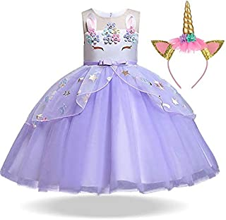 Girls Unicorn Tutu Dress Princess Kids Birthday Party Dress Girls Christmas Pony for 3-10 Y with Headband