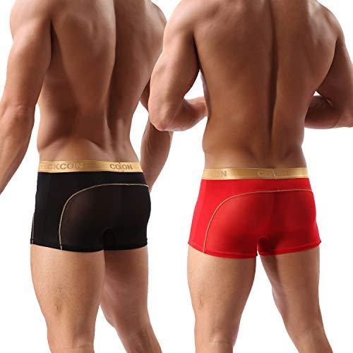 Laxier 2er-Pack Herren Boxer Shorts Weiche Unterhosen Durchsichtige Boxershorts Sexy Unterwäsche Trunk für Männer (Schwarz/Red, XXL)