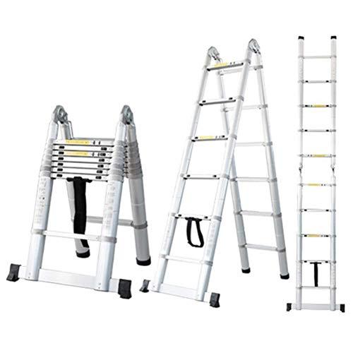 ZSPSHOP Heavy Duty Telescoping Climb Ladder Voor Home Builder Loft Werkplek, Uitschuifbare Lichtgewicht Vouwladders Met Stabilisator Niet Slip Bar, Ondersteunt 250 Kg (551 Lbs)