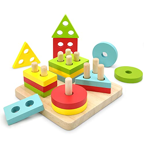 TOLOLO Montessori Toys for 1 2 3 Year Old Boys Girls, Educational Learning Toys for 2 Year Old Girls Boys Birthday Gift, Color Recognition Shape Sorter, Wooden Puzzle Stacking Toys for Toddler 1-3