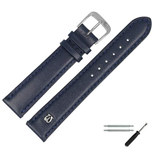 MARBURGER Uhrenarmband 14mm Leder Blau - Werkzeug Montage Set 1001451000120