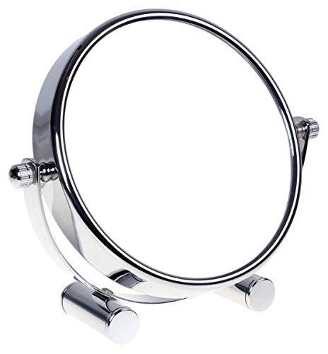 HIMRY Designed Kosmetik Spiegel/Kosmetikspiegel, 360° drehbar. zweiseitig: normal und 7 - Fach Vergrößerung. Standspiegel, Rasierspiegel, Badezimmerspiegel. verchromten, KXD3104-7x