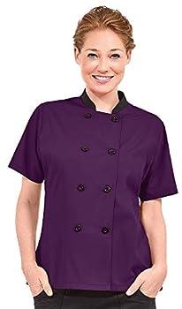Women's Lightweight Short Sleeve Chef Coat  XS-3X 3 Colors   XXX-Large Eggplant/Black