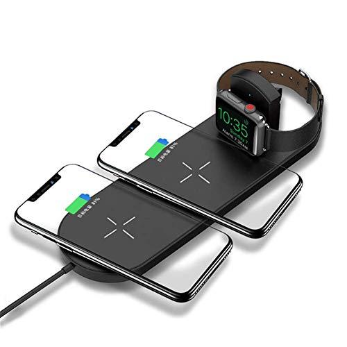 ZUZU Chargeur Rapide sans Fil Dual Pad, Chargeur Ultra-Mince Qi pour Apple Watch 2, Chargeur Double pour iPhone XS Max XR X 8 Plus,B