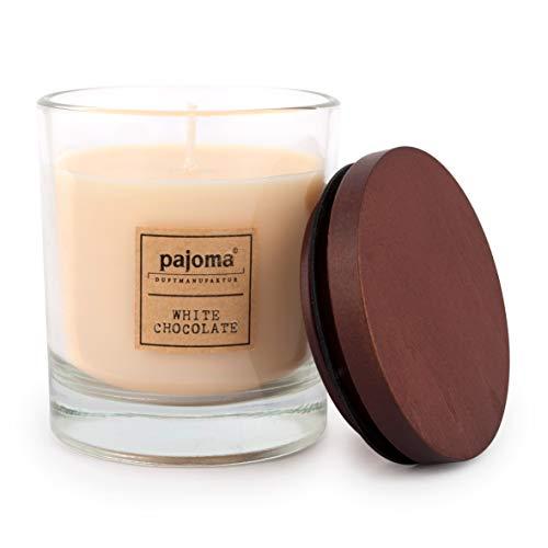 Unbekannt Pajoma Duftkerze White Chocolate, 180 g, im Glas mit Holzdeckel, NEU Premium Edition, für Circa 25 Stunden