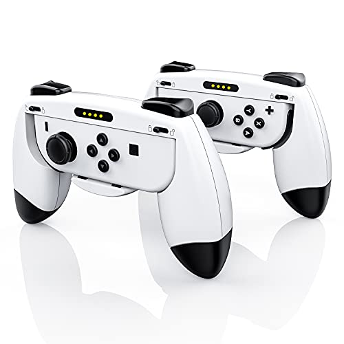 Joy Con Grip Compatible with Nintendo Switch, Ergonomic Nintendo Switch Hand Grip, Wear-Resistant Joy-con Handle for Switch, Controllers for Nintendo Switch Joy Con - Black and White(2 Packs)