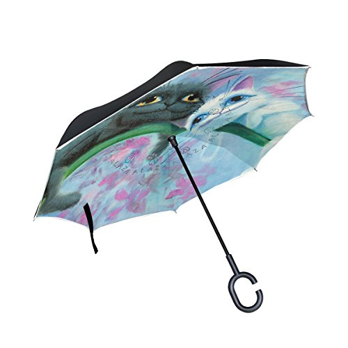 isaoa Große Schirm Regenschirm Winddicht Doppelschichtige seitenverkehrt Faltbarer Regenschirm für Auto Regen Außeneinsatz,C-förmigem Henkel Regenschirm schwarz Katze und weiß Regenschirm