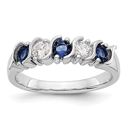 14k White Gold Diamond Sapphire Wedding Ring Band Size 7.00 Gemstone Bridal Fine Jewellery For Women Gifts For Her