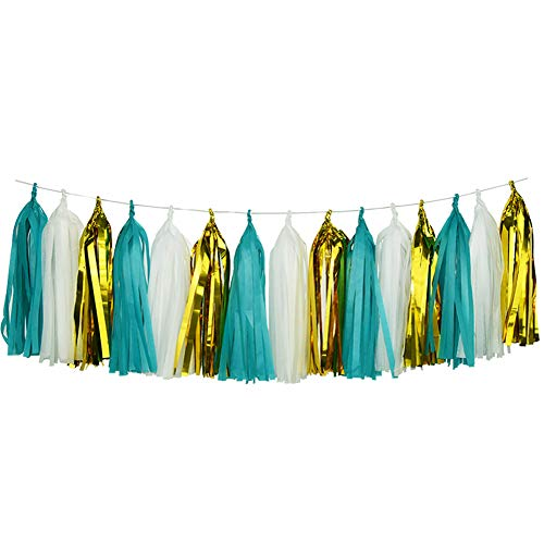 HappyField Teal White Gold Tissue Paper Tassel Garland for Birthday Party, Hen Party, Bridal Shower, Baby Shower, Wedding, Bachelorette, Table Decor Event & Party Decorations, DIY Kits