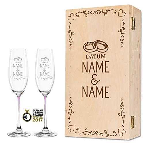 Leonardo La Perla - Copas de champán en exclusivo diseño de boda como set - Regalo de boda personalizado para la pareja de novios - Regalo de boda color rosa