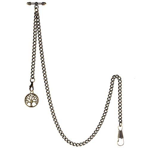 TREEWETO Taschenuhrkette mit T Bar Endstück Albert T-Bar Taschenuhr Kette mit Antiker Lebensbaum Anhänger und 2 Haken für Weste Knopfloch Bronze