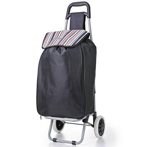 Hoppa Expandable Lightweight 2 Wheel Large Capacity Shopper Luggage Cart Shopping Trolley, 51L, Black
