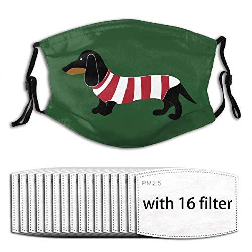Mundschutz Dackel Dog Wear Stripes Kleidung Verstellbare Anti-Staub-Gesichtsbedeckung Waschbares Tuch mit Filterpapier für Männer Frauen