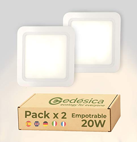 PACK X2 plafon led techo, panel led, plafones led, 20W 2000LM diámetro...
