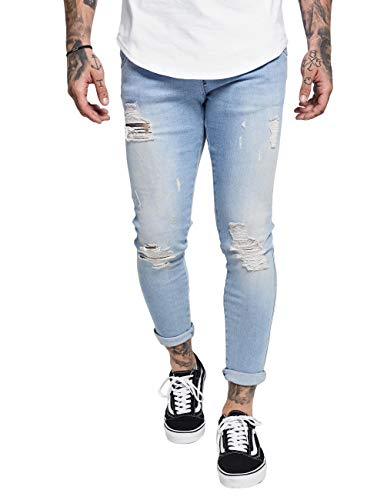 Sik Silk Herren Jeans Skinny Distressed Denim SS-12994 Hellblau Light Blue, Größe:S