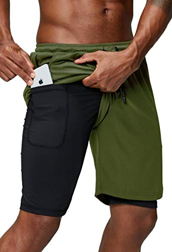 Pinkbomb Men's 2 in 1 Running Shorts Gym Workout Quick Dry Mens Shorts with Phone Pocket (Army Green, Medium